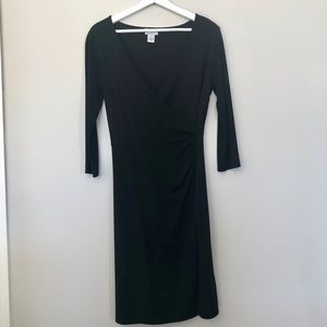 Loft | Black V-Neck Midi Dress | Size 8